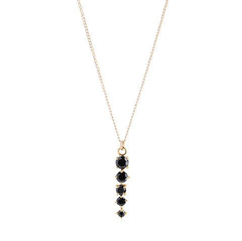Celeste Black Onyx Necklace, Gold, five stones, jewelry on white background