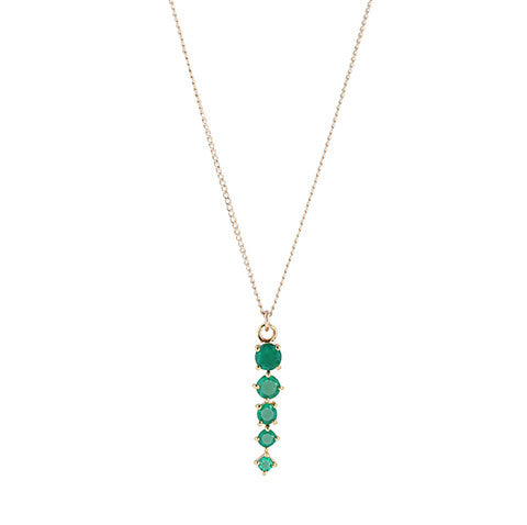 Celeste Emerald Necklace, gold, long necklace, jewelry on white background