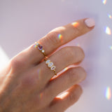 gold moonstone antique inspired ring