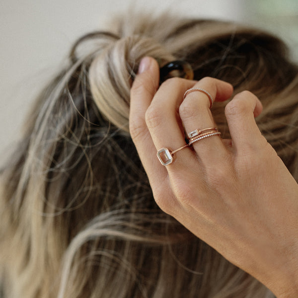 rosegold white topaz stacking rings