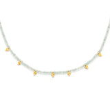 Fluency Aquamarine Gold Choker, Necklace on white background
