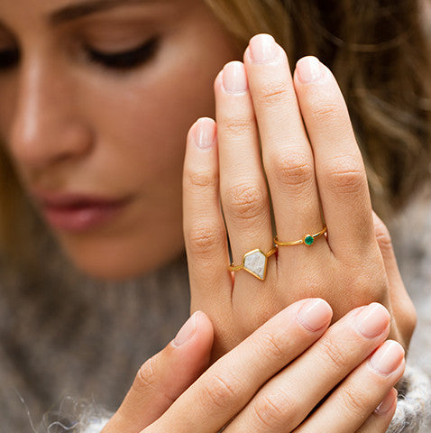 diamond shaped moonstone gold ring