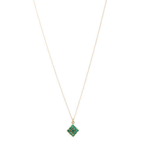 Honeycomb Emerald Necklace, gold, jewelry on white background