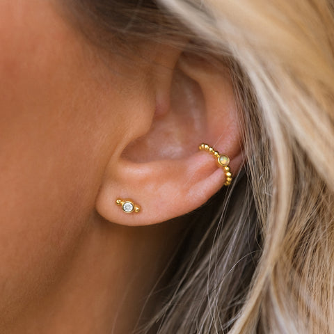 Isla Studs | 14k Gold & Diamond