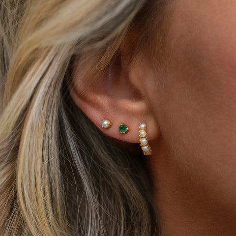 Element Stud | 14k Gold & Emerald
