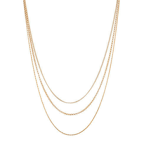 Layercake Necklace, gold, layered necklace, jewelry on white background