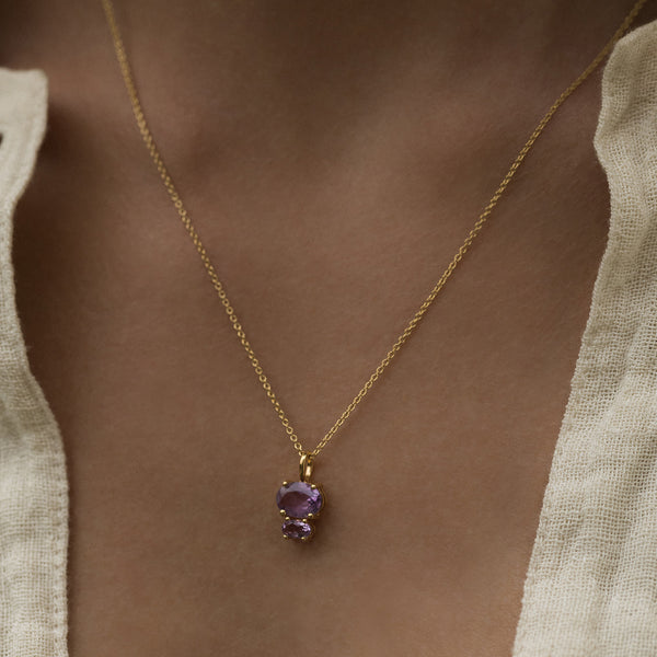 Leah Alexandra antique inspired jewelry amethyst gold bijou necklace