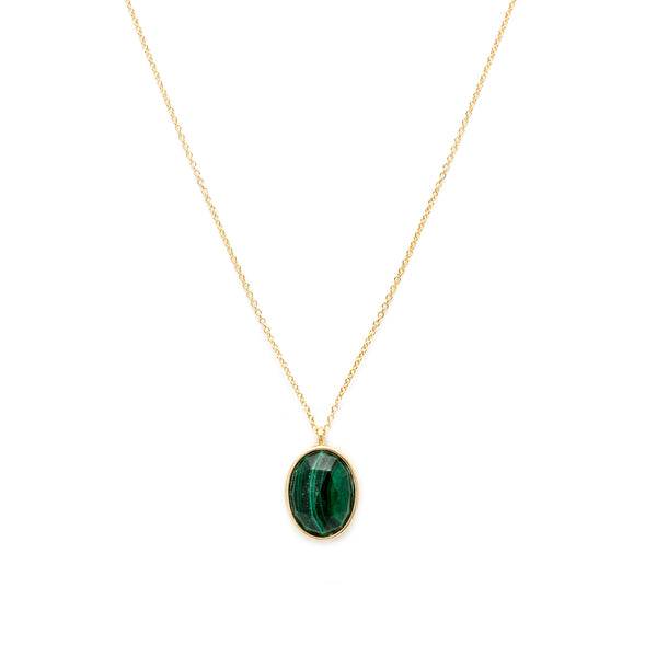 leah alexandra cameo necklace malachite gold