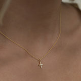 Leah alexandra dainty cross necklace gold