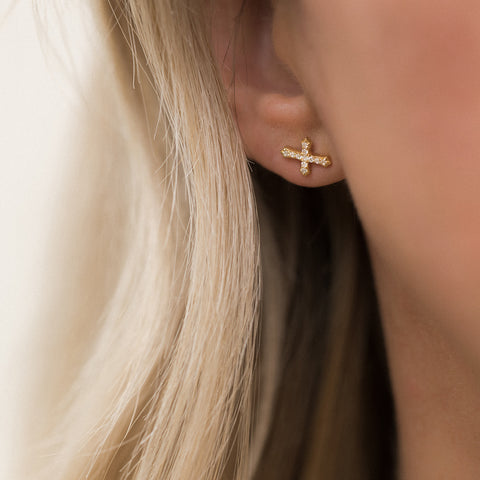 Leah Alexandra small cross studs earrings
