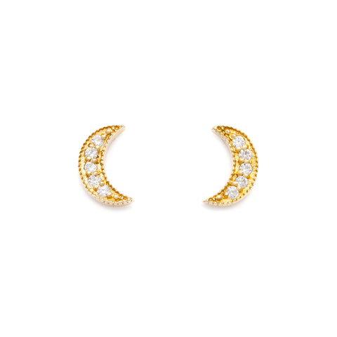 Luna Crescent Moon Studs | Gold