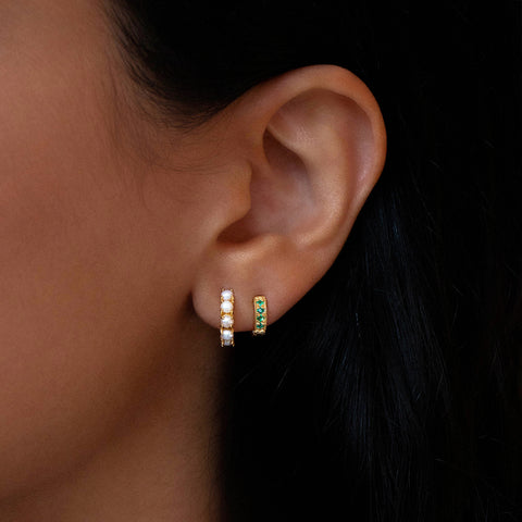 Pave Mini Huggies | 8mm Emerald