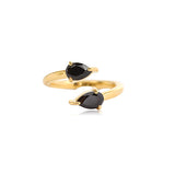 BLACK ONYX ADJUSTABLE PEAR RING