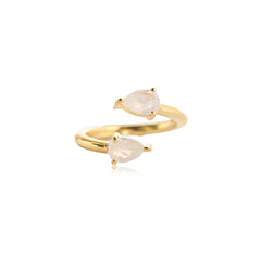 MOONSTONE ADJUSTABLE PEAR RING