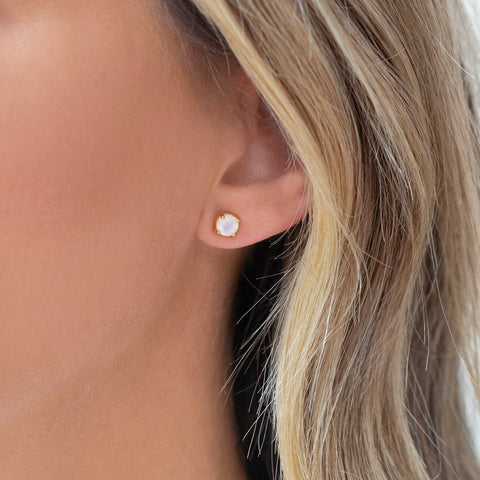 Petite Prong Studs | Moonstone