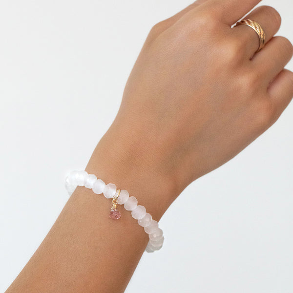Social Bracelet | White Quartz, Strawberry Quartz