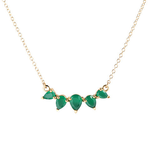 Sunny Emerald Necklace, green onyx, gold, jewelry on white background