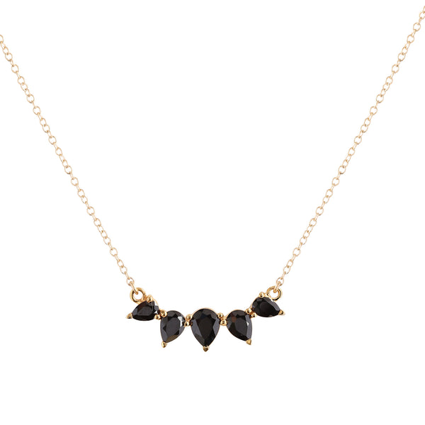 Sunny Black Garnet Necklace, Gold, Necklace on white background