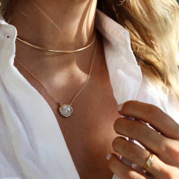 leah alexandra gld choker moonstone necklace layers