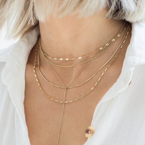 gold tie layering necklace