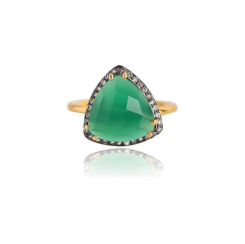 TRIELLE EMERALD GREEN ONYX RING