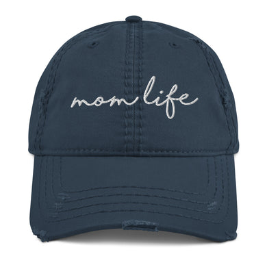 'Mom Life' Distressed Ball Cap