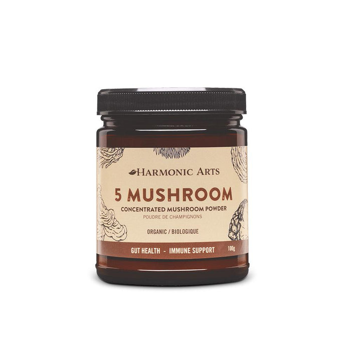 A jar of 5 Mushroom Concentrated Powder