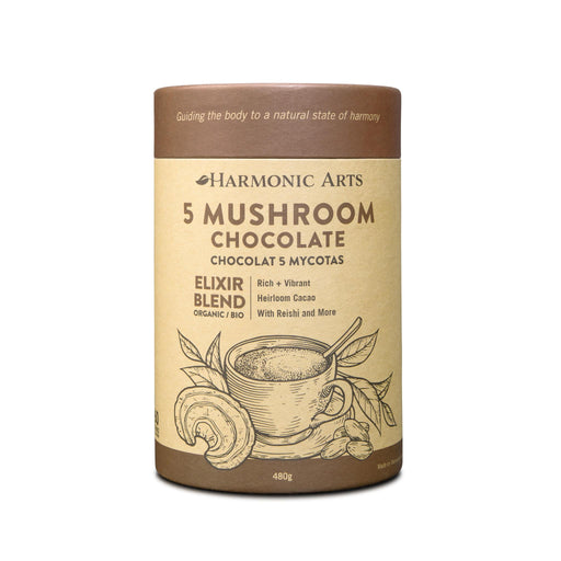 A large canister of 5 Mushroom Chocolate