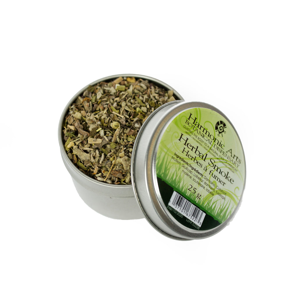 A tin of Herbal Smoke Blend