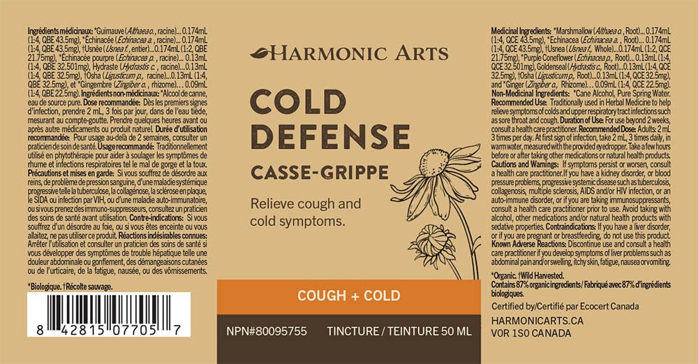 The label of Cold Defense tincture