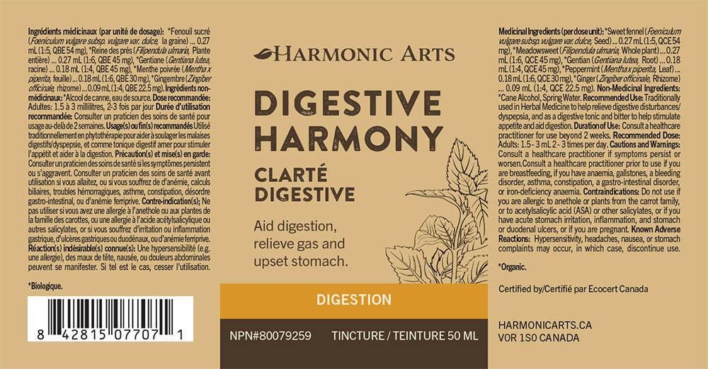 The label of Digestive Harmony tincture