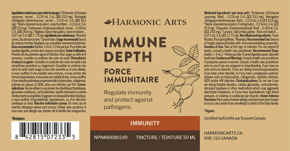 The label of Immune Depth tincture