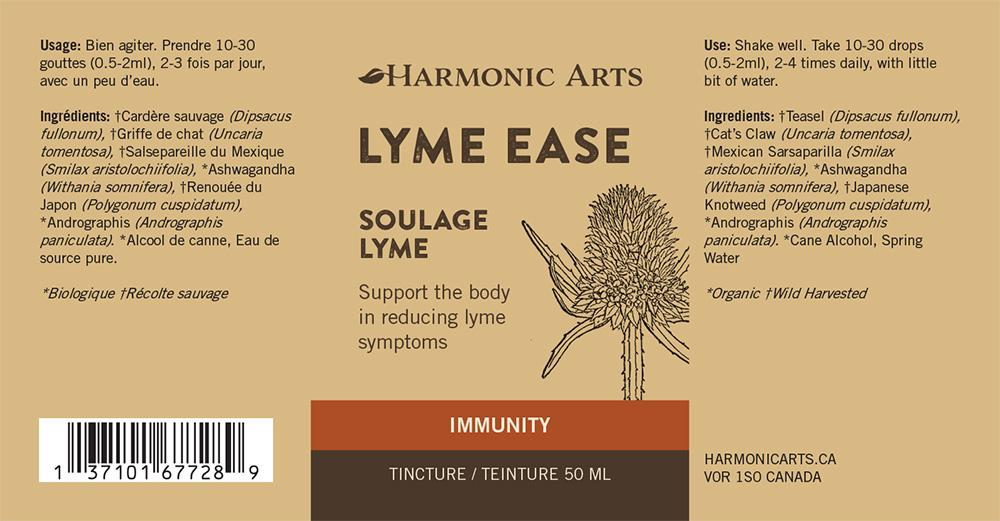 The label of Lyme Ease tincture