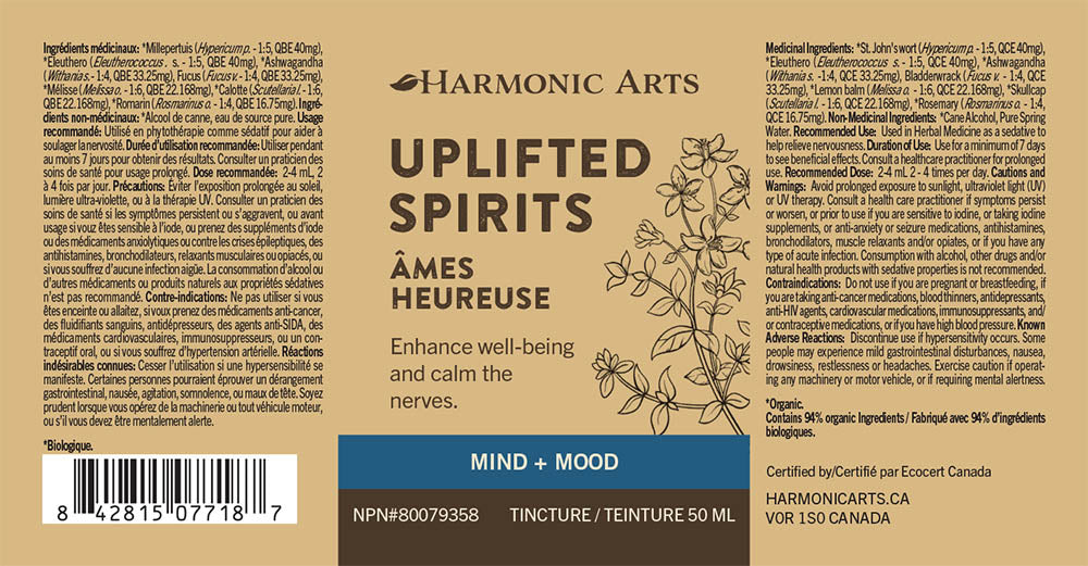 The label of Uplifted Spirits tincture