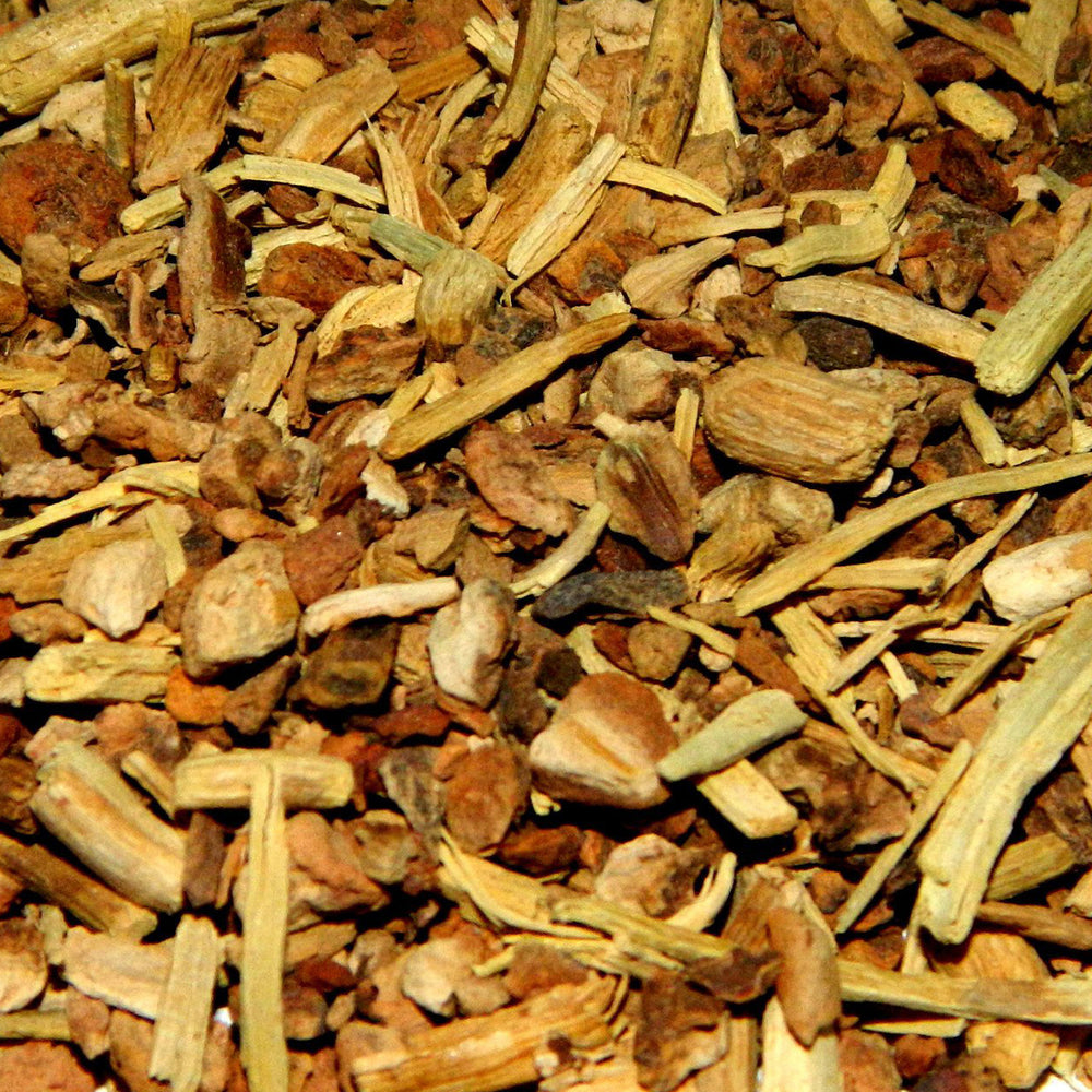 A closeup of loose Sarsaparilla Root (Indian)