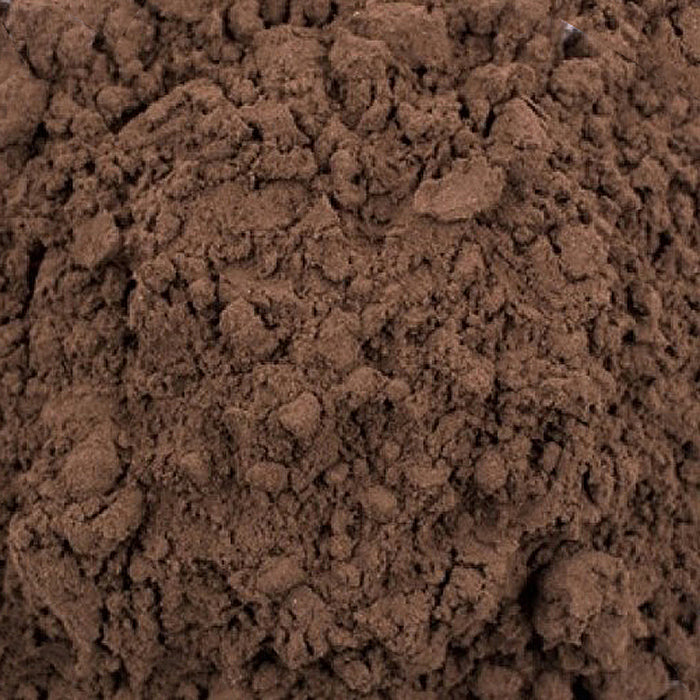 A closeup of loose Shilajit (Purified Mineral Pitch Powder)