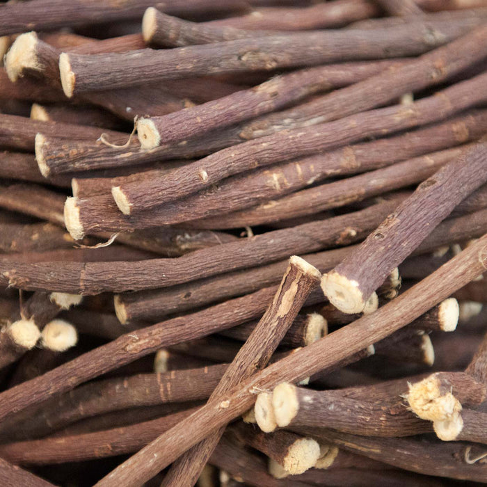 A closeup of loose Licorice Root Sticks