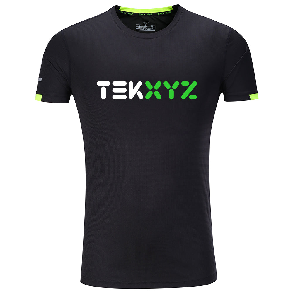 TEKXYZ Quick Dry Short Sleeve Sports Style T-Shirt, Big Logo, Black