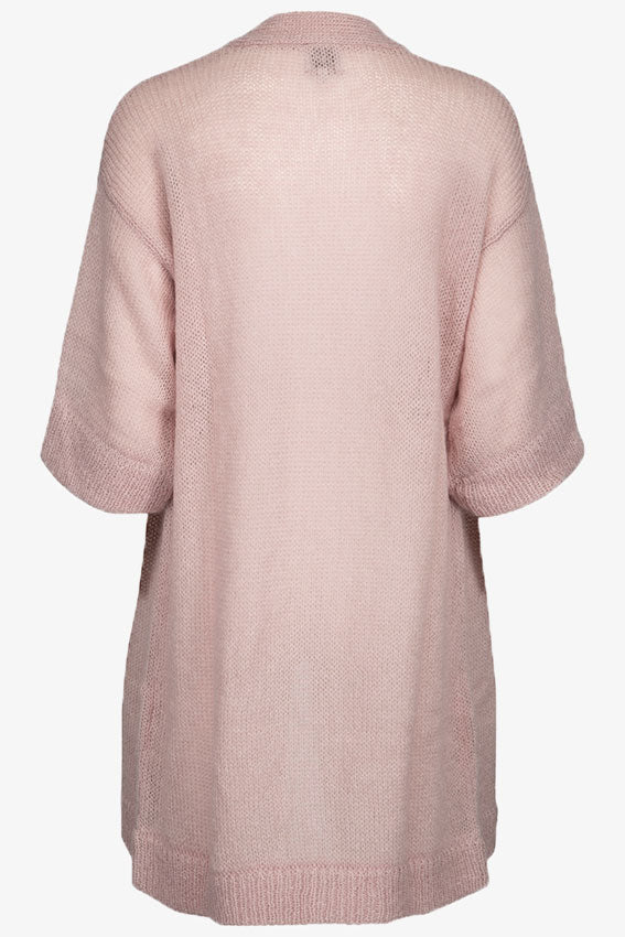Runa Long Open Front Cardigan Rose