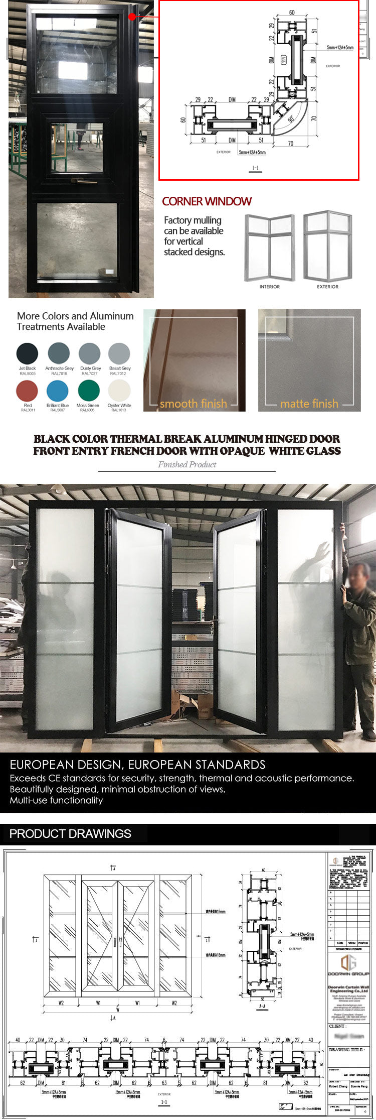 Black powder coating paint color thermal break aluminum awning