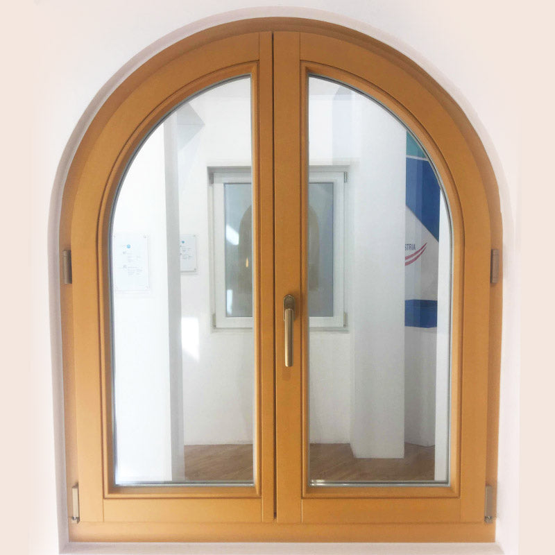 pine larch arched top french casement window with maco hardware