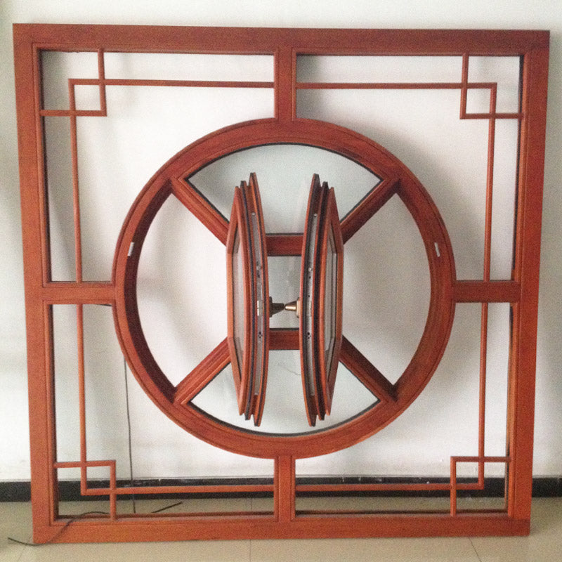 Chines Style Arched-Top-Solid Wood-Casement Window