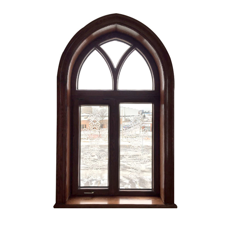 Fantastic arched oak wood window frame fixed transom and bottom rectangle window with carved glass