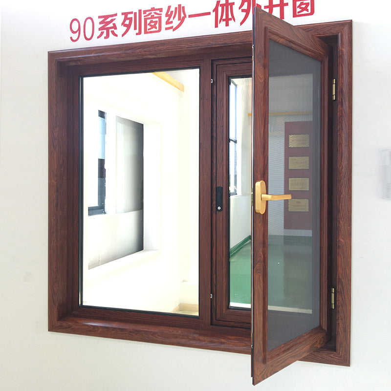 Outswing-Window-With-Wood Grain-Color-Finishing aluminum window