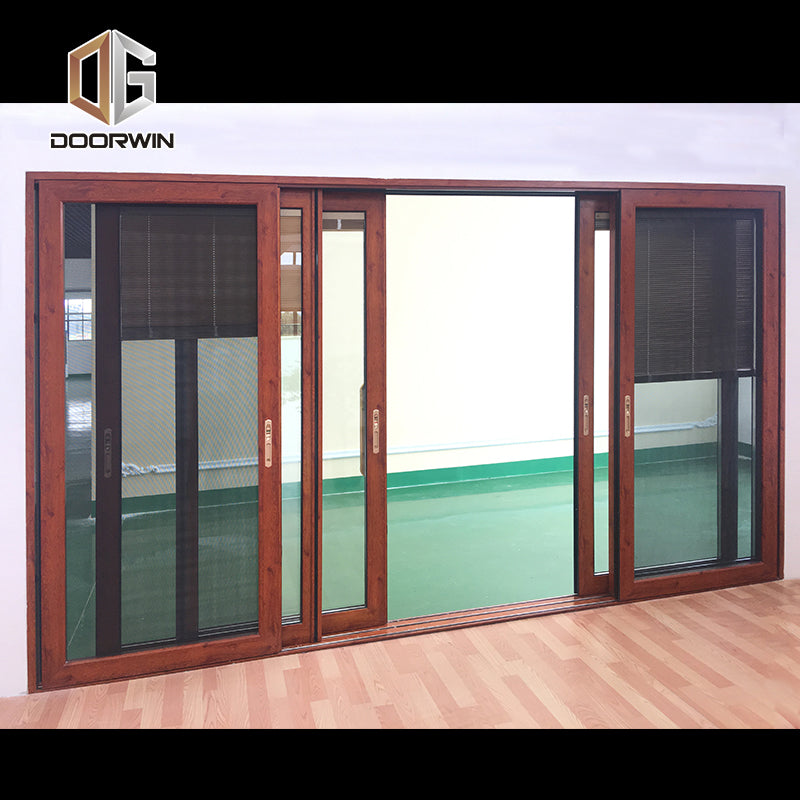 wood grain three rails thermal break aluminum sliding door with screen door