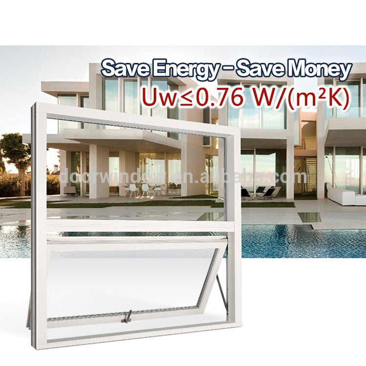 Aluminum awning top hung windows with netscreen and double glass low-e hollow