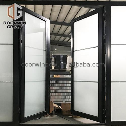 Aluminum entrance door double glass hinged in powder coating by Doorwin on Alibaba