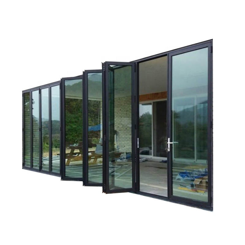 Aluminum profile bifolding door modern folding garage glass doors by Doorwin on Alibaba