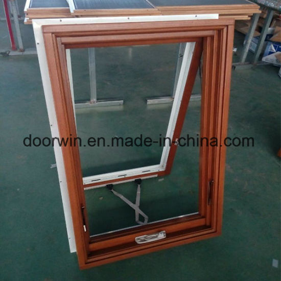 American Awning Window with Foldable Crank Handle, Timber Window with Exterior Aluminum Cladding - China Low Emissivity Awning Window, Waterproof Window Screen