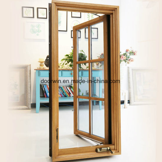 American Casement Window with Foldable Crank Handle, Aluminum Clad Solid Oak Wood Casement Window - China Australian Standard Aluminium Crank Window, Australian Style Aluminium Crank Windows